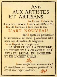 art nouveau aankondiging galerie bing paris 1895
