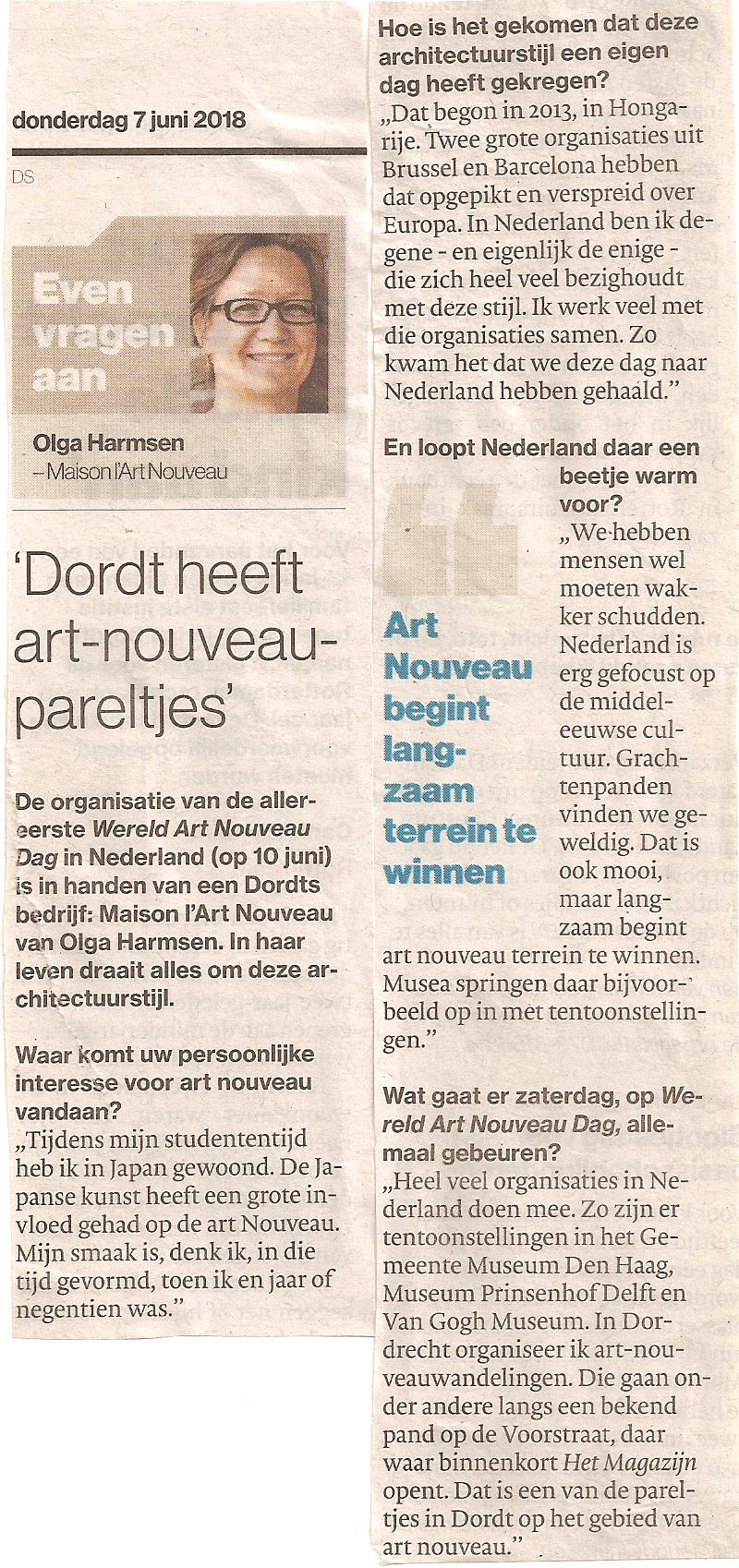 Interview met Olga Harmsen in AD de Dordtenaar over World Art Nouveau Day