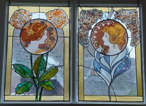 Glas-in-lood panelen door Heleen van der Spek