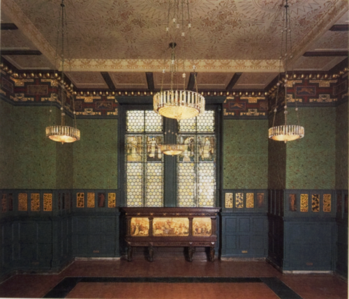 Groene eetkamer V&A Museum gedecoreerd door William Morris in 1866