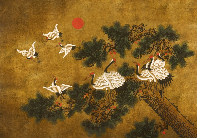 art_nouveau_japonisme_behang-024 (Japans behang met kraanvogels)