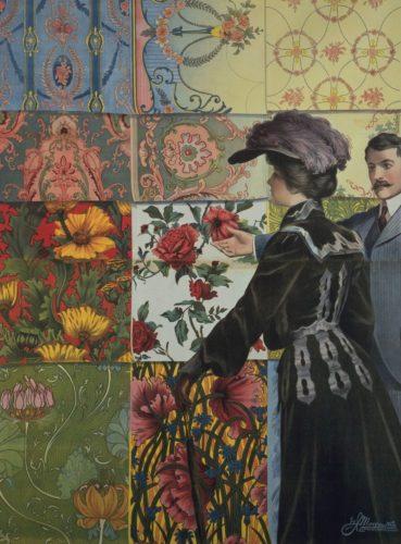 Verkoper en een klant in een behang-showroom 1899-1901
