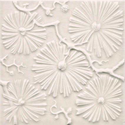 Jugendstil Art Nouveau tegel wit bloemen