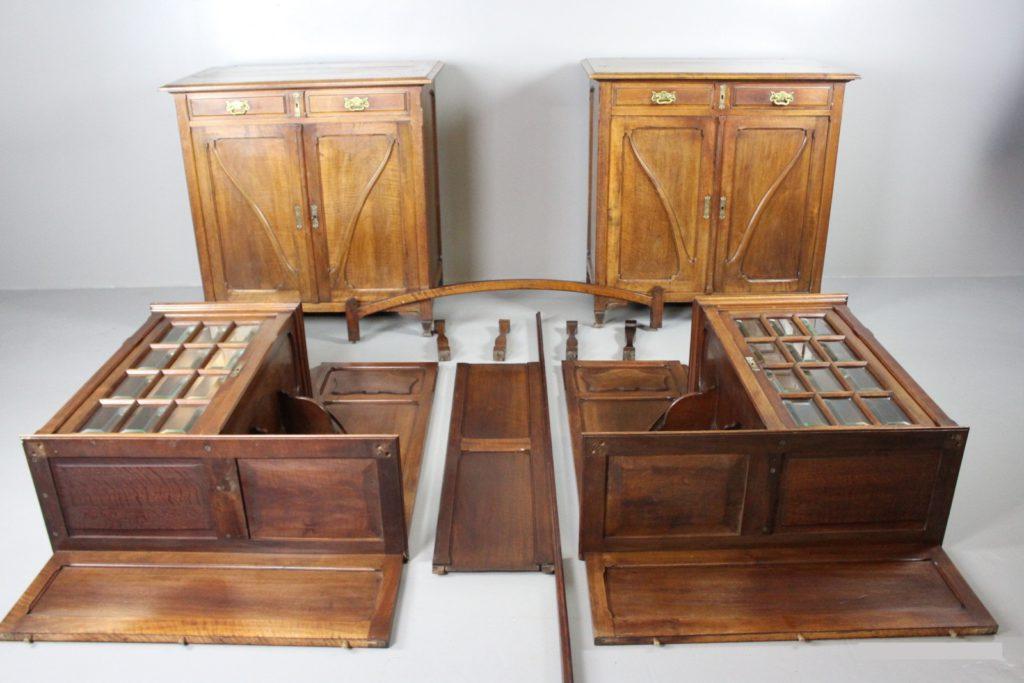 Walnoot Art Nouveau Deur-ombouw te koop