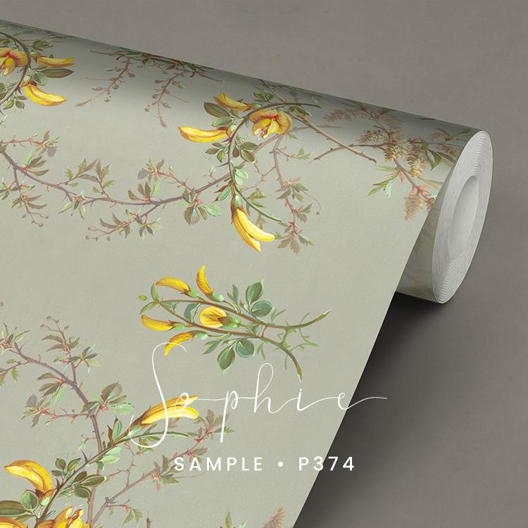 P374 Sophie behang met gele bloemen